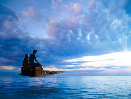 dream vacations with a flying carpet above the calm sea towards the sun - 3d rendering Stock fotó