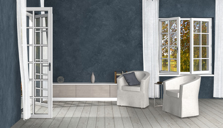 FICTITIOUS nostalgic country style living room with opened windows and french doors to room - 3D rendering