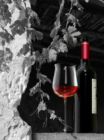 FICTITIOUS glass of wine in a rural scene - 3D rendering. The label on the bottle is fictitious and was cerated by me. No rights are infringed. Stock fotó