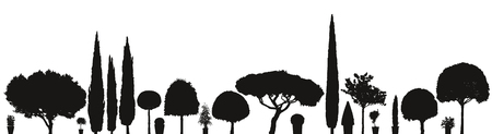 broad range or assortment of vector trees and plants silhouettes isolated on white background