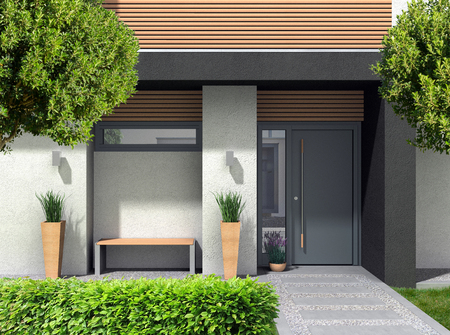 FICTITIOUS 3D rendering of a modern home facade with entrance, front door or front yard