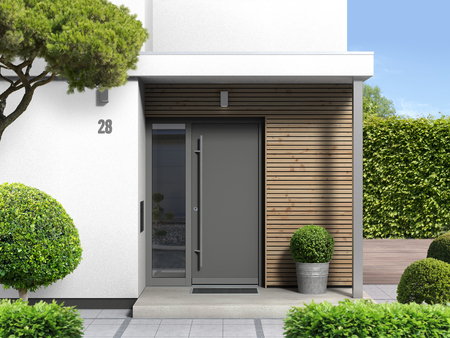 FICTITIOUS 3d rendering of a modern home with a front door