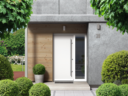 FICTITIOUS Modern home facade with entrance, front door and view to the garden - 3D rendering