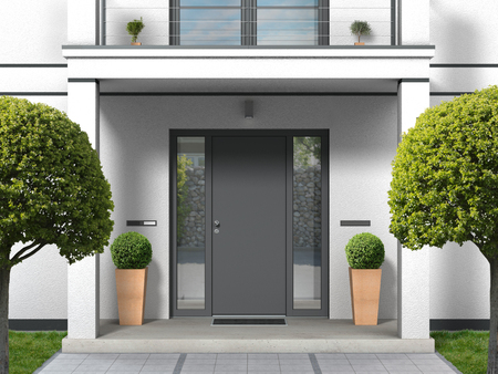 FICTITIOUS house facade with entrance porch, balcony, pillars and front door - 3D rendering Stock fotó