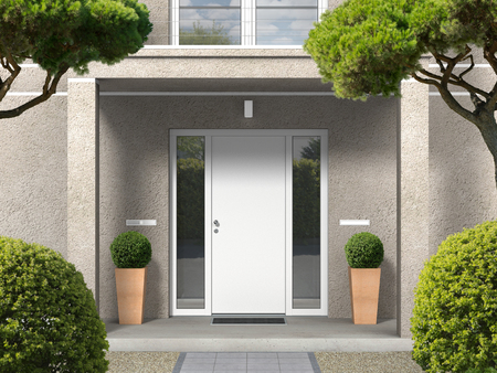 FICTITIOUS classic style house facade with entrance porch, balcony, pillars and front door - 3D rendering