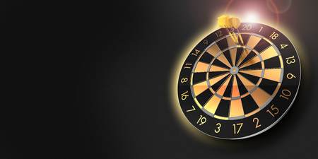 festive black and glossy golden dart board with copy space and lens flare and a score of 180  - 3D rendering Stock fotó