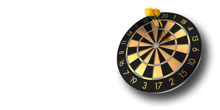 festive black and glossy golden dart board on white background inlcuding alpha channel - 3D rendering Stock fotó