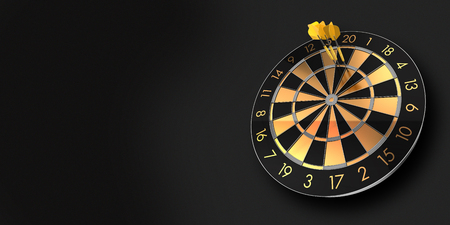 festive black and glossy golden dart board with copy space on black background and a score of 180 - 3D rendering