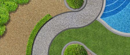 FICTIF Design de jardin de luxe contemporain moderne en vue aérienne avec piscine