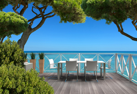Beautiful FICTITIOUS terrace surrounded by plants with a view to the mediterranean sea - fictitious 3D rendering and composite image