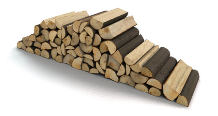 a stack of firewood isolated on white background with copy space - 3D rendering