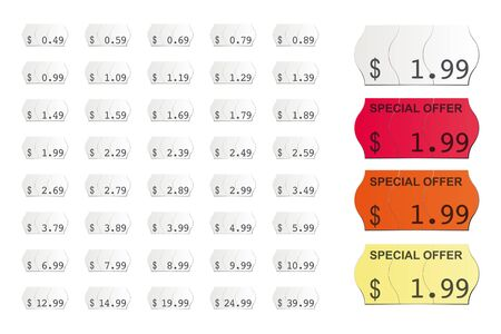 adhesive american vector price tags isolated on white background icluding special offers in Dollars and Cent Illusztráció