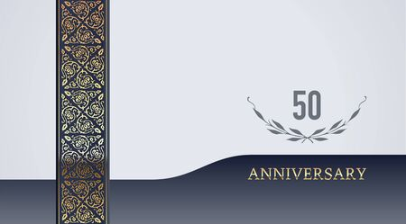 50th jubilee, anniversary, wedding or birthday festive golden vintage vector background for invitation card