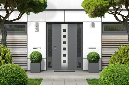 FICTITIOUS 3D rendering of modern real estate bungalow home facade with white front door, yard and trees
