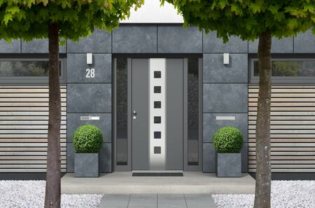FICTITIOUS 3D rendering of modern urban bungalow home with designer front door, yard with white gravel and trees