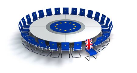 symbolic brexit image with the United Kingdom leavin the european union at the concerence table - 3D rendering Stockfoto