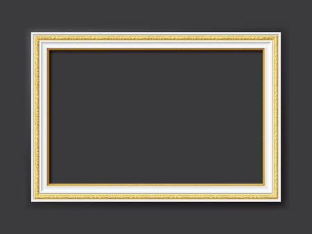 golden and white ornamental vintage style vector frame isolated on dark gray background with copy space for images, paintings, drawings or photos Illusztráció
