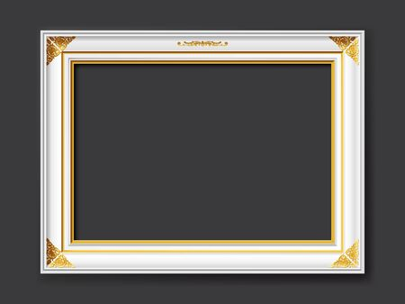 Golden and white ornamental vintage style vector frame isolated on dark gray background with copy space for images, paintings, drawings or photos Stock fotó - 138108969
