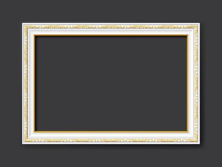Golden and white ornamental vintage style vector frame isolated on dark gray background with copy space for images, paintings, drawings or photos