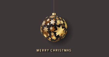 golden glossy vector christmas bauble consisting of stars on dark gray background