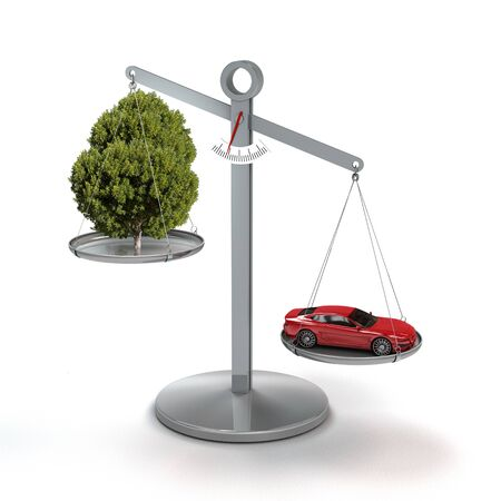 conceptual image concerning climate change, CO2, pollution, traffic and global warming with car and tree on a scale, isolated on white background with copy space Stock fotó - 138035344