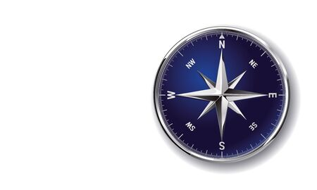 Glossy chromy metallic vector compass rose clip art isolated on white background Stock fotó - 140781295