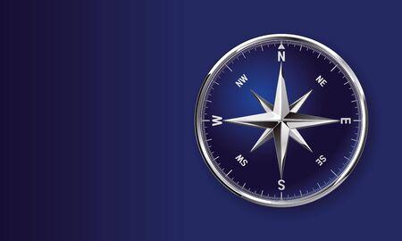 Glossy chromy metallic vector compass rose clip art isolated on blue background with copy space Illusztráció