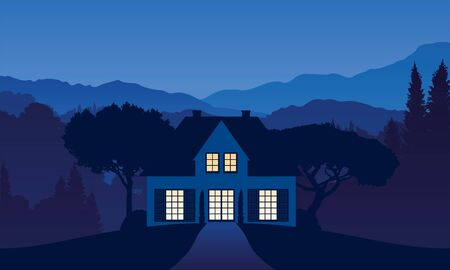 vector illustration of a house somewhere in the mountain landscape in the night with light falling through the windows Illustration