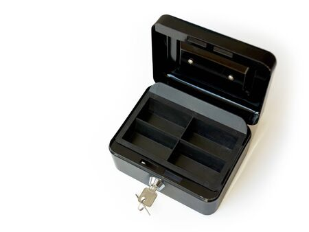 empty black metal cash box isolated on white as a symbol for financial crisis or bankrupt Stock fotó - 144071255