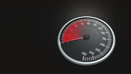 3D rendering of speedometer from hundred to zero as symbol for financial economic crisis or danger of a recession Stock fotó