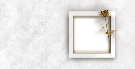 festive white wall background with picture frame and decorative golden rose
