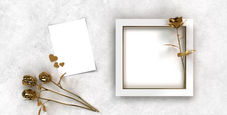 festive still life in white and gold with picture frame and golden roses, hearts and a sheet of paper für invitation cards Stock fotó - 150014630