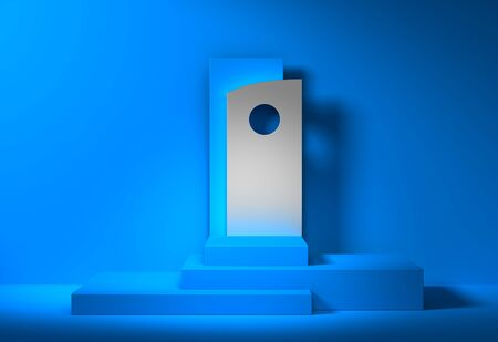 blue abstract podium background mockup template for product presentation - 3d rendering Stock fotó