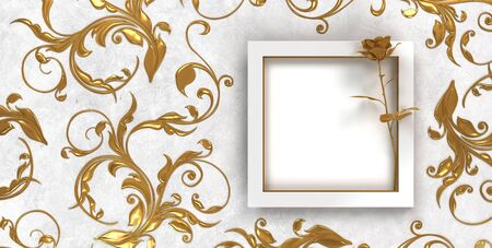festive background template with ornaments, embellishments and frame with golden rose Stock fotó - 150523325