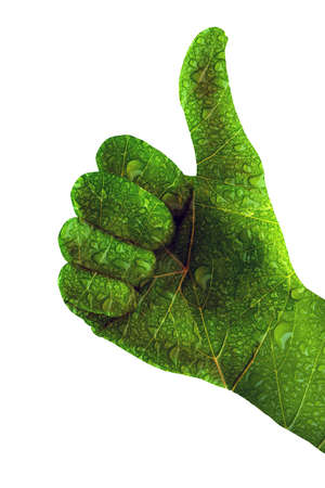 green thumbs up as a symbol for climate change, renewable energies, gardening or or homeopathy Stock fotó - 152949347