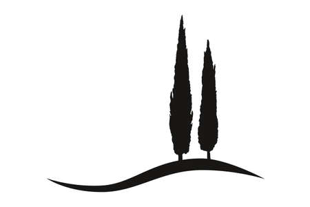 two isolated mediterranean vector cypress trees icon logo silhouette on a hill
