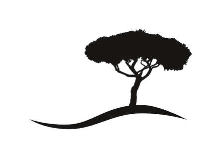 isolated mediterranean vector umbrella pine icon logo silhouette on a hill 矢量图像