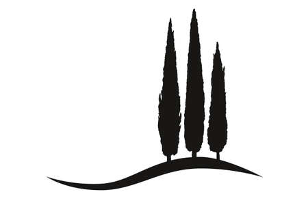 three isolated mediterranean vector cypress trees icon logo silhouette on a hill 免版税图像 - 155774338