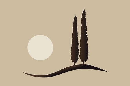 two isolated mediterranean vector cypress trees icon silhouette on a hill with the sun 免版税图像 - 156149029