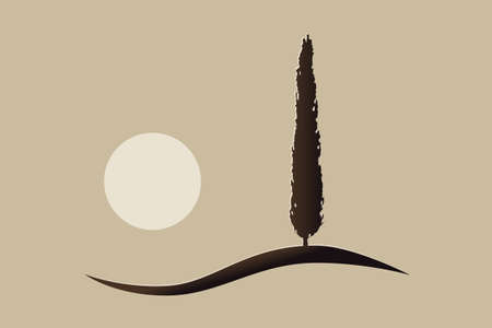 single isolated mediterranean vector cypress tree icon silhouette on a hill with the sun