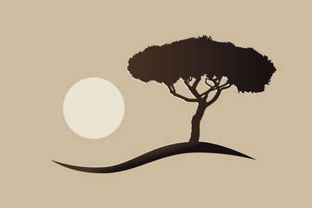 isolated mediterranean vector umbrella pine icon silhouette on a hill with the sun 矢量图像