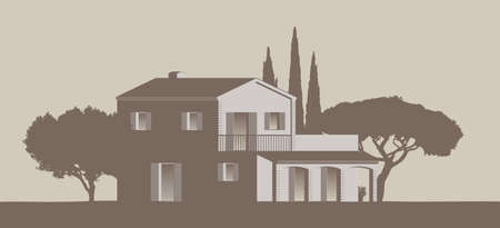mediterranean vector clip art Finca Home surrounded by trees 免版税图像 - 155774339