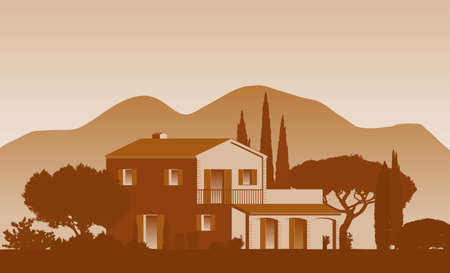 mediterranean vector clip art Finca Home surrounded by trees and Landscape with mountains in the background 矢量图像