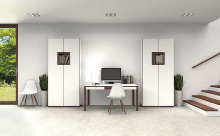 FICTITIOUS 3D rendering of a home office interior with modern furniture in the basement WITH FICITITOUS BOOKS