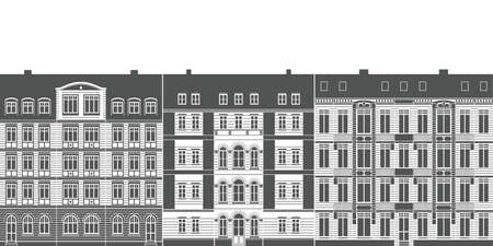 row of urban historical ancient town house facades as detailled vector illustration Vektorgrafik