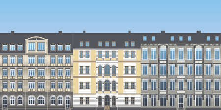 row of colored urban historical ancient town house facade exterior as detailled vector illustration