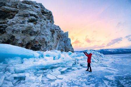 boundless: Frozen Lake Baikal.Cold -30 degrees,winter ,baikal , russia Stock Photo