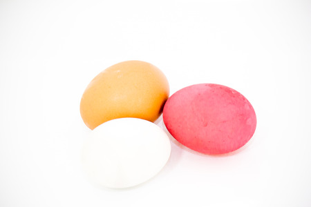 Eggs made in Thailand on a white background.