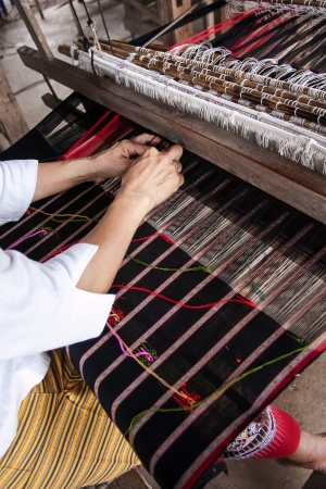 Process of weaving, dyeing, weaving ancient Thailand as silk Stock Photo - 23831045
