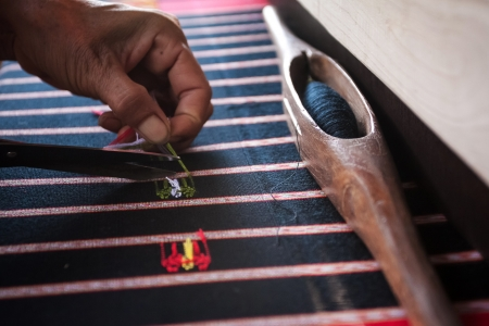 Process of weaving, dyeing, weaving ancient Thailand as silk Stock Photo - 23831046